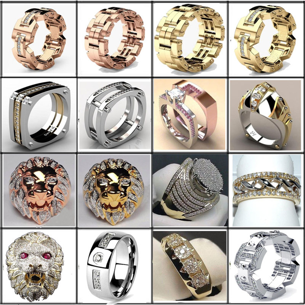 Aaa Cubic Zirconia Ice Out Bling Big Wide Hip Hop Lion Head Rock Rings Gold Color Geometric Men Hiphop Rapper Cz Ring Jewelry