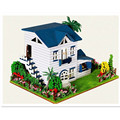 Home Decoration Crafts Creative Wooden Doll House DIY Miniature Dollhouse Leisurely Sojourn Assembling Toy for Children