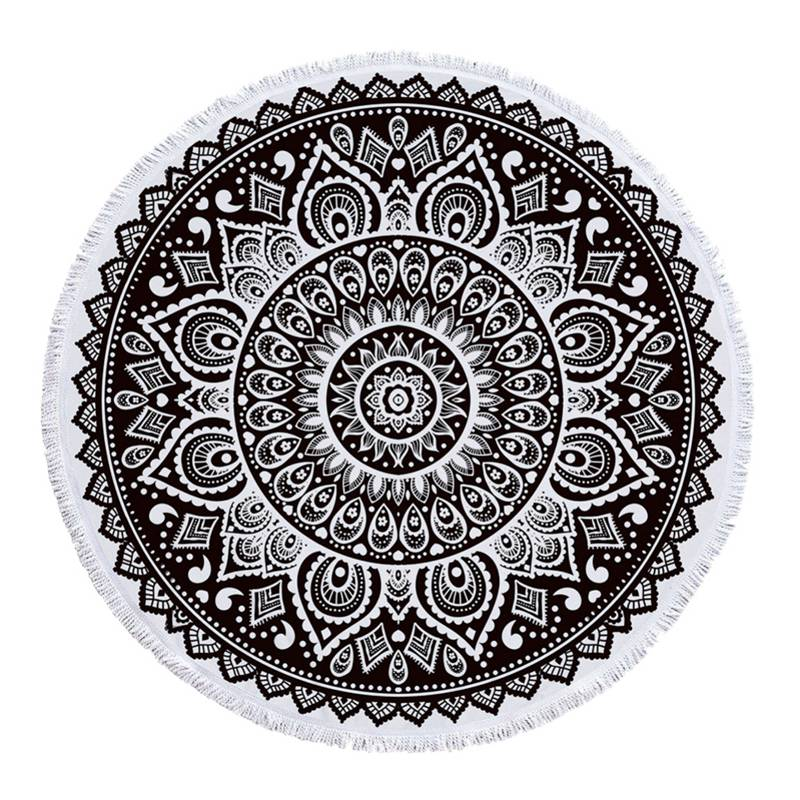 Round Travel Beach Towel Microfiber Mandala Style Printed Fringe Tassels Carpet 9 Styles Yoga Mat