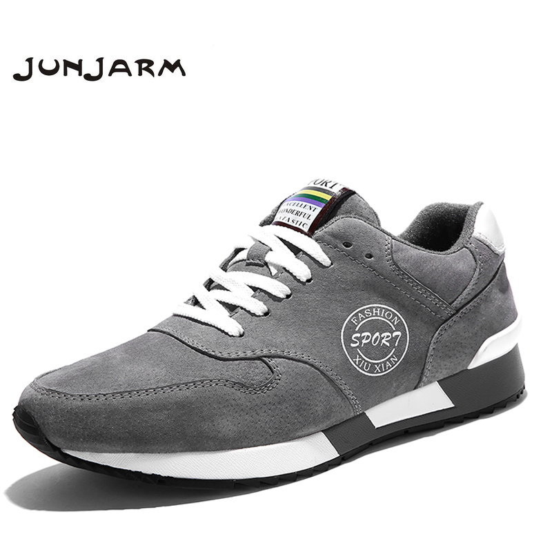 JUNJARM 2017 New Arrival High Quality Men Walking Shoes Suede Men Shoes Breathable Men Outdoor Shoes Lace-up Men Fashion Shoes