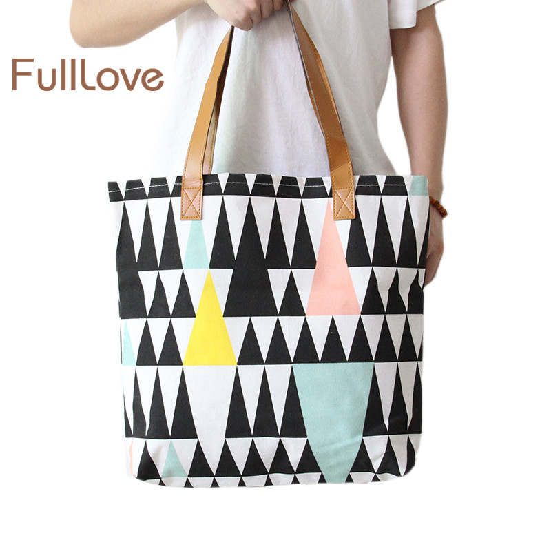 fef869862b3 US $11.82 |FullLove Fashion Girls School Bag Canvas Geometric Pattern  Storage Bag Clothes Pouch Handbag Travel Shopping Sundries Organizer-in  Storage ...