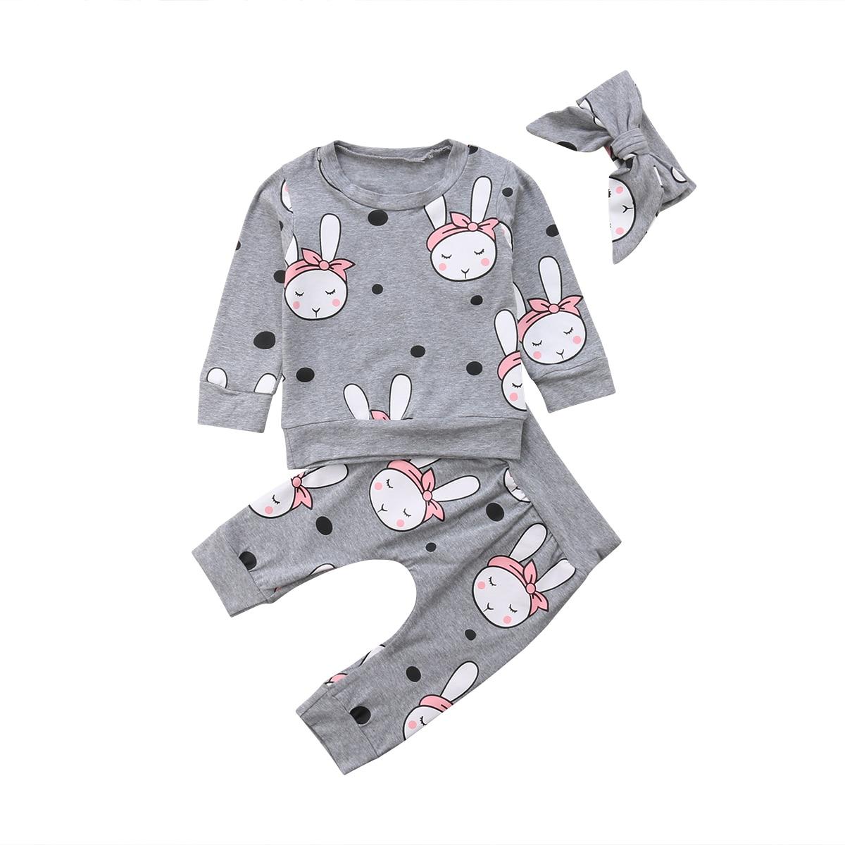 0-2 T Peuter Baby Meisje Kleding Sets Sweater T-shirt Tops Broek Lange Mouw Katoen Hoofdbanden 3 Stks Leuke Baby Set 0-24 M