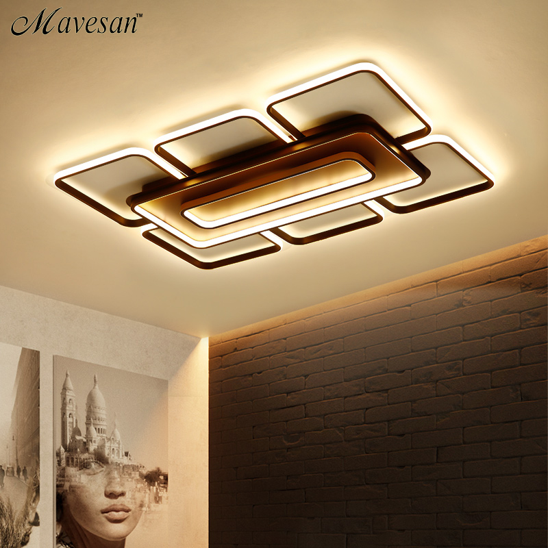 Square Modern Ceiling Lights Led For Living Room Bedroom White and Coffee Color Home Led Ceiling