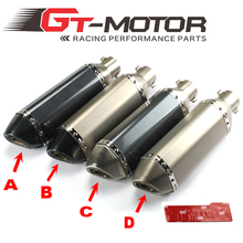 GT Motor – Universal 35-51mm Motorcycle exhaust Modified Scooter Exhaust Muffle GY6 for HONDA R1  R6 FZ6 Z1000 GSXR600
