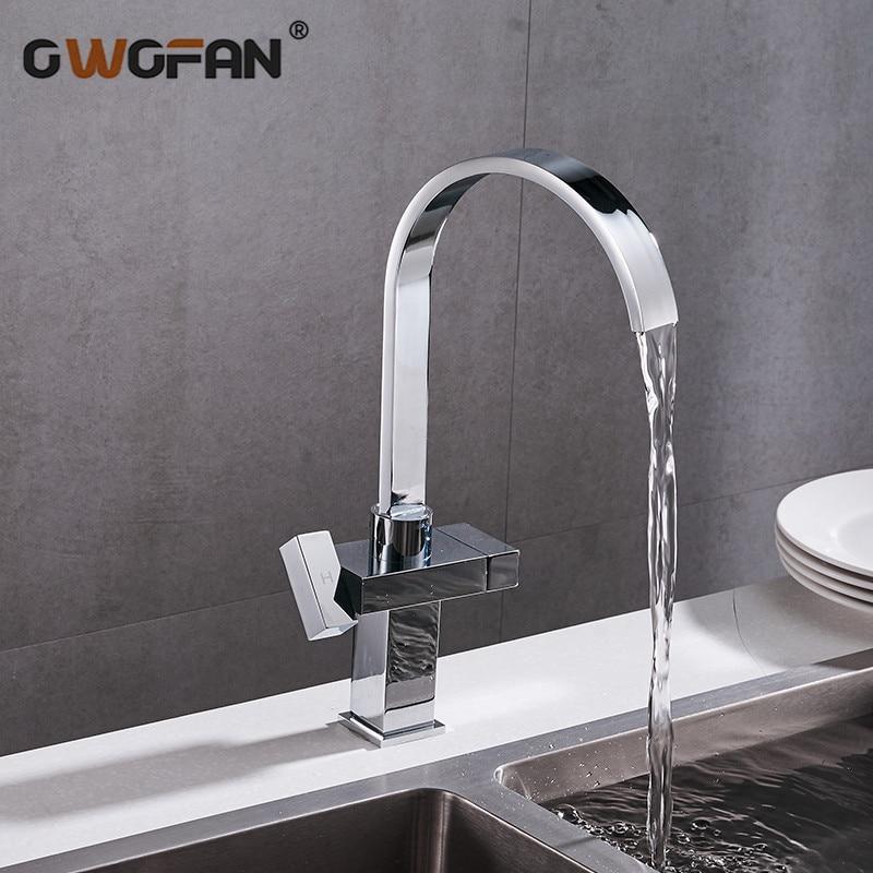 Simples e moderno cachoeira torneira da cozinha praça dupla alça de aço inoxidável bacia torneiras 360 swivel chrome mixer sink tap 88307b