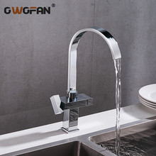 Modern Simple Waterfall Kitchen Faucet Square Dual Handle Stainless Steel Basin Faucets 360 Swivel Chrome Mixer Sink Tap 88307B modern simple waterfall kitchen faucet square dual handle stainless steel basin faucets 360 swivel chrome mixer sink tap 88307b