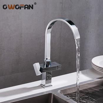 Modern Simple Waterfall Kitchen Faucet Square Dual Handle Stainless Steel Basin Faucets 360 Swivel Chrome Mixer Sink Tap 88307B