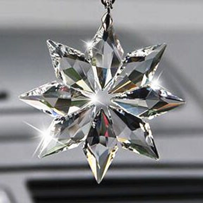 80mm Crystal Snowflake Prism Pendant For Chandelier Part FengShui Hanging Crystal Crafts Gifts,Car & Home Decoration