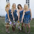 Royal Blue Bridesmaid Dresses Spaghetti Strap Lace Appliques Knee Length Wedding Party Dress Country Wedding Party Gown