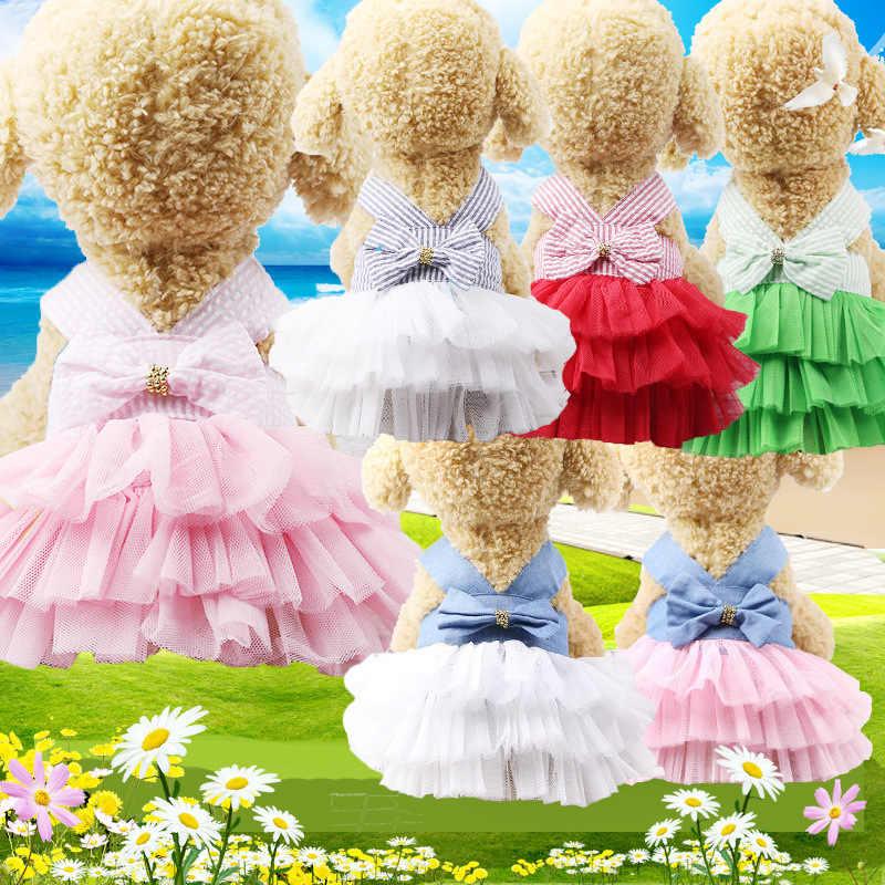 Sling perro vestido de verano perro tulle de encaje ropa para perros pequeños fiesta de perro cumpleaños la boda lazo nudo vestido cachorro traje