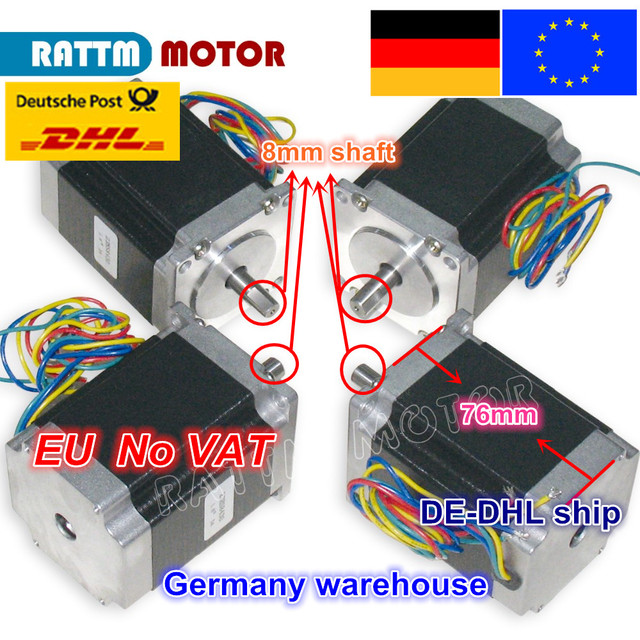 EU ship/free VAT 4PCS NEMA23 76mm/ 270 Oz-in/ 3A CNC stepper motor stepping motor for CNC Router/Engraving/Milling machine