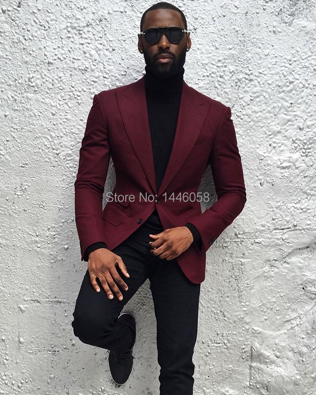 2018 Terno Masculino Custom Made Peaked Lapel Wedding Suits For Men Slim Fit Burgundy Groom Suit Mens Tuxedo Best Man Blazer ...