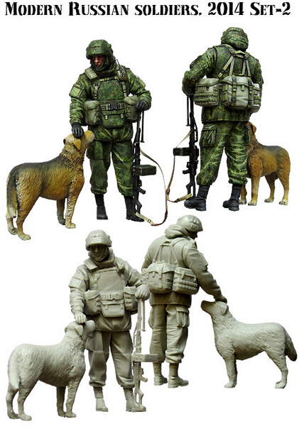 Resin Kits 1 35 Scale The Crimean Russian with the dog soldiers Resin Model DIY TOYS