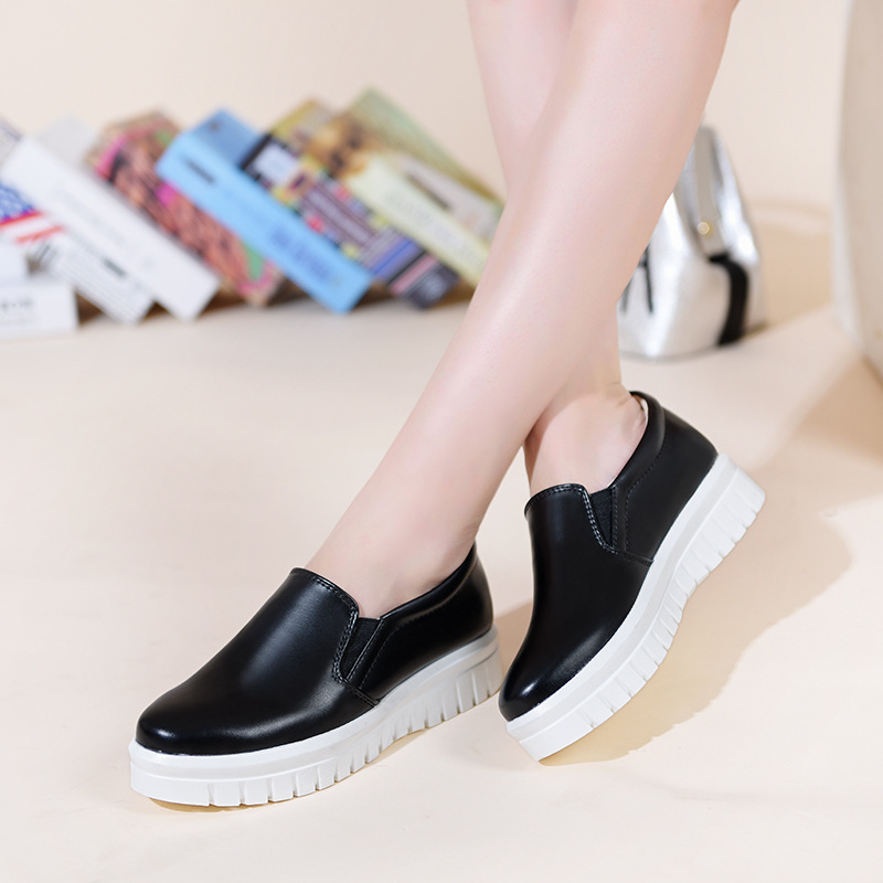 ФОТО Women Loafers Shoes 2016 Brand Women Leather Casual Flats Shoes Woman New Fashion Female White Shoes Ladies Platform shoes 2811