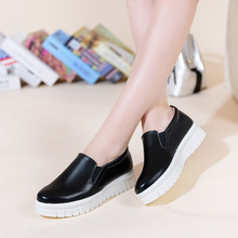 Women Loafers Shoes 2016 Brand Women Leather Casual Flats Shoes Woman New Fashion Female White Shoes Ladies Platform shoes 2811