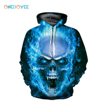 ONEDOYEE Men Women Sportswear Brand Long Sleeve Sweatshirt 3D Hoodies Skull Printed Sweater Hooded Tracksuit Sports Outwear