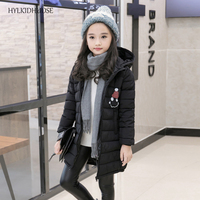 HYLKIDHUOSE 2017 Winter Baby Girls Coats Children Cotton-Padded Jacket Hooded Student Outdoor Long Outerwear Kids Warm Parkas