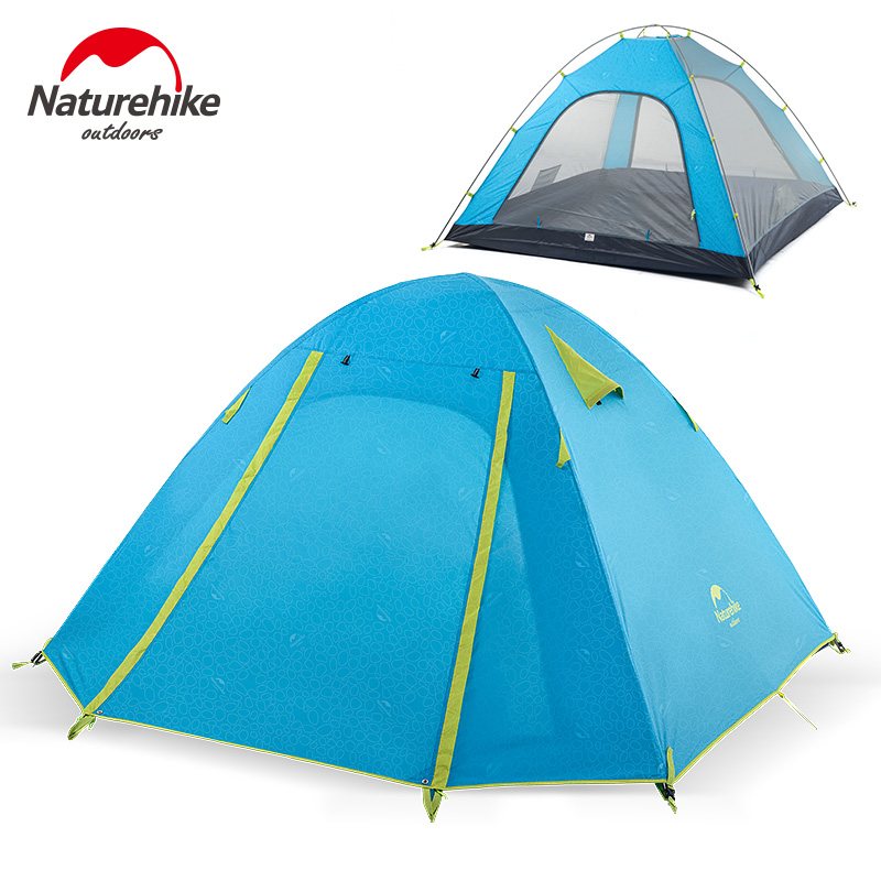 Naturehike 2/3/4 Person Tent Double-layer Sunscreen Anti-UV Camping Tent Outdoor Picnic Backpacking Beach Tent NH18Z022-P 3 4 person windproof waterproof anti uv double layer tent ultralight outdoor hiking camping tent picnic tent with carrying bag