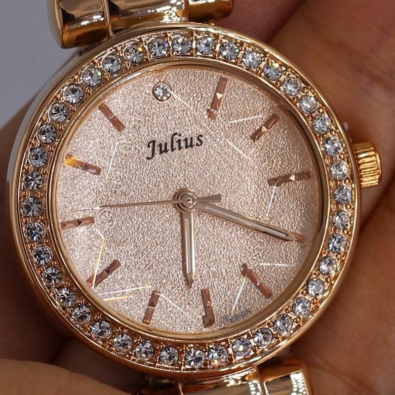 Julius Hexagram Star Glass 5 Colors Lady Woman Watch Quartz Hours Best Fashion Dress Bracelet Leather