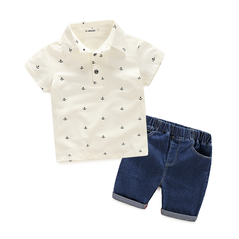 Hot Sale Kids Clothes Sets Summer Suits Baby Boys Clothes Short Sleeve Polo Shirt+Denim Shorts Casual Children Clothing 2 Colors hot sale 2016 kids boys girls summer tops baby t shirts fashion leaf print sleeveless kniting tee baby clothes children t shirt