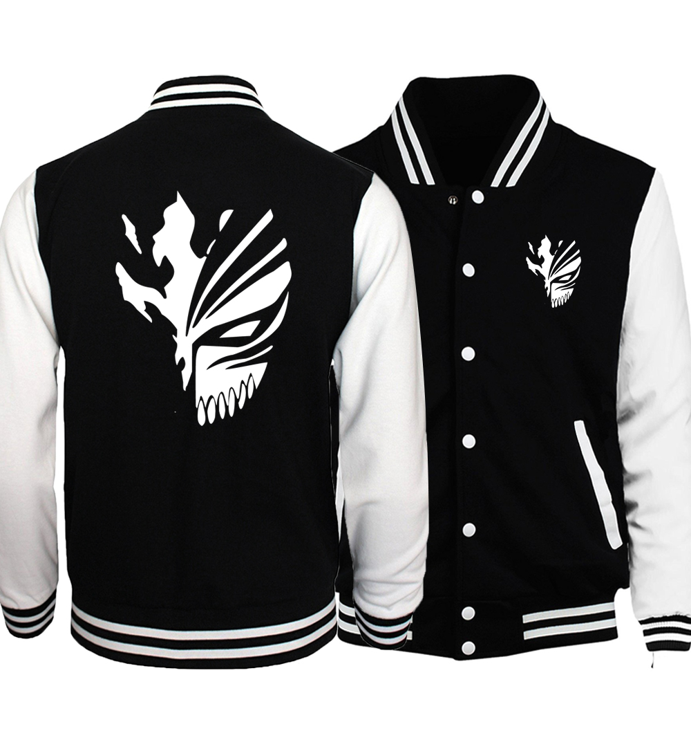 Anime BLEACH Kurosaki Ichigo Baseball Uniform Men 2018 Spring Night Lights Death Note Baseball Jacket Print Black White Coat 5XL