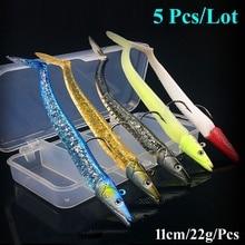 5PC Lot Soft Silicone baits Jig Lead Head Fishing Lure Fresh Salt Water Vivid Body jigging