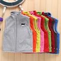 Niñas chalecos deportes de primavera otoño 2 ~ 7 años niños fleece chaquetas deportivas chaleco niño niños cuello alto muchachas de la historieta chalecos deportivos