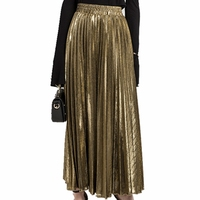 Gonna a pieghe Metallico Argento Dorato Donna Gonne Lunghe Maxi Primavera Estate Calda Gonna A Vita Alta Retro Jupe Longue Femme