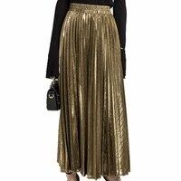 Spódnica plisowana Metaliczny Złoty Srebrny Kobiety Długie Spódnice Maxi Wiosna Lato Hot Wysokiej Talii Spódnica Retro Jupiter Longue Femme