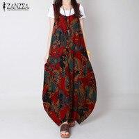 ZANZEA 2017 Summer Brand Vestidos Women Cotton Vintage Flower Print Dress Sleeveless V Neck Loose Plus