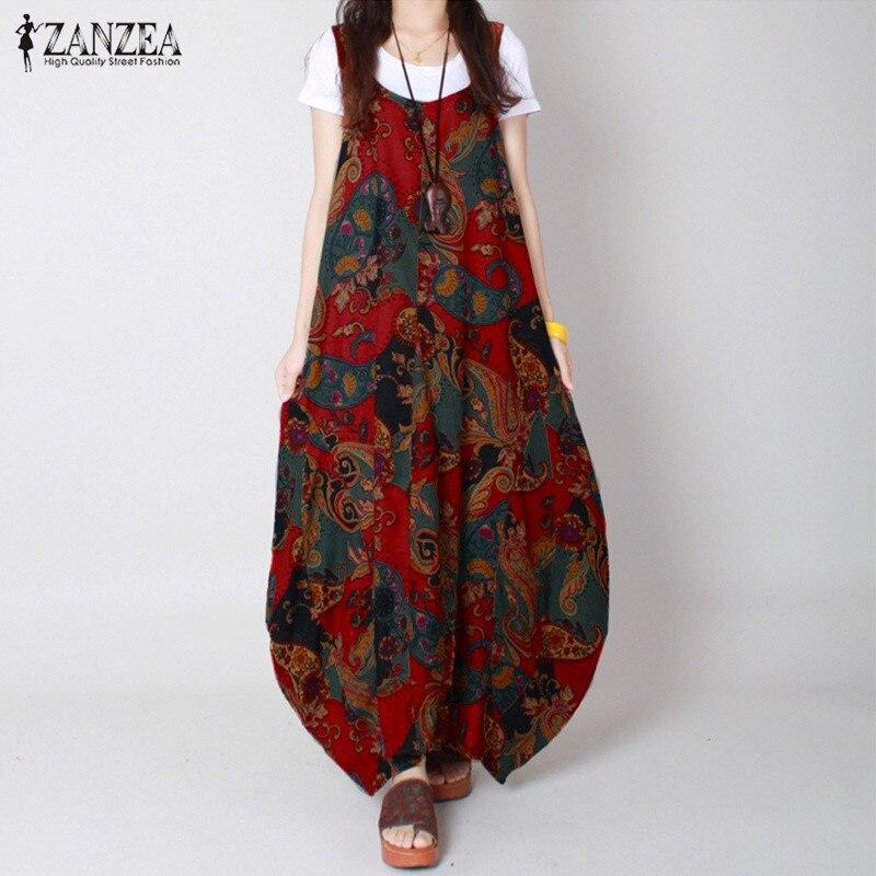 Zanzea marca de verano 2017 vestidos de algodón mujeres flor vintage print dress