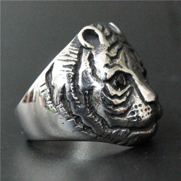 2017สไตล์ที่น่าตื่นตาตื่นใจน่ารักเสือแหวนด้วยหินสีดำตา316LสแตนเลสสตรีบุรุษเงินสีดำBikerเสือดาวแหวน