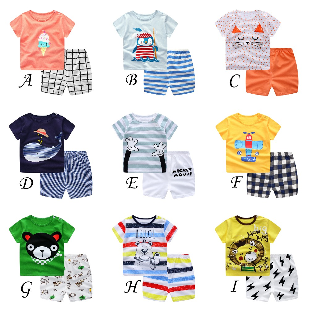 Toddler Boys Girls Clothes 100% Cotton Kids Clothes Summer Boys Clothes T Shirt+Shorts Casual Kids Tracksuit DS9