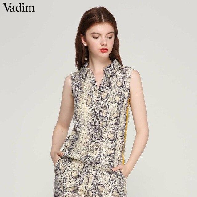 Vadim femmes élégant imprimé serpent chemisier sans manches col tourné vers le bas côté rayé chemises dames d'été décontracté tops blusas WA134