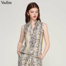 Vadim women stylish snake print blouse sleeveless turn down collar side striped shirts summer ladies casual tops blusas WA134(China)