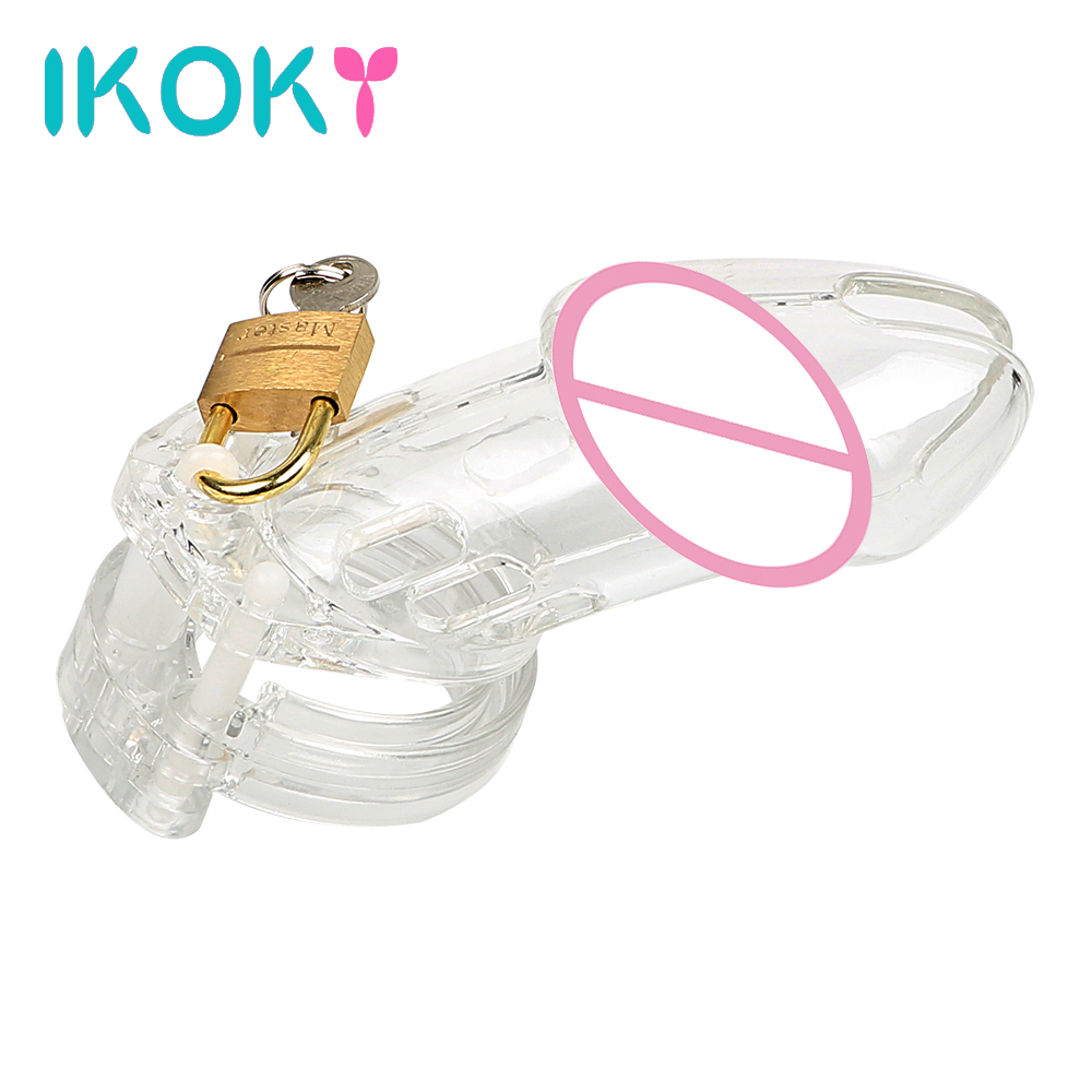 IKOKY Chastity Lock Penis Rings Cock Rings Sex Toys for Men Male CB6000 Erotic Cock Cage with 5 Rings Male Chastity Device