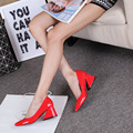 Nuevos Zapatos de Moda Mujer 6 CM Talones Hoof Mujeres Bombas Slip-On Conciso Estilo extraño Tacones Punta Cuadrada Elegante de las mujeres zapatos