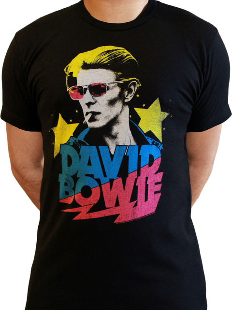 b459badba David Bowie Slash Starman Official Rock Pop Music Black Mens T-shirt Men  Print Cotton O Neck Shirts top tee Design top tee