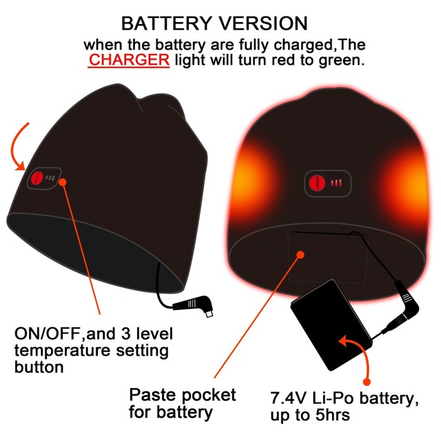 Red 7.4V battery heated Beanie Caps for Women Heated WarmStretchy Soft  Winter Knit Caps Headwear 3