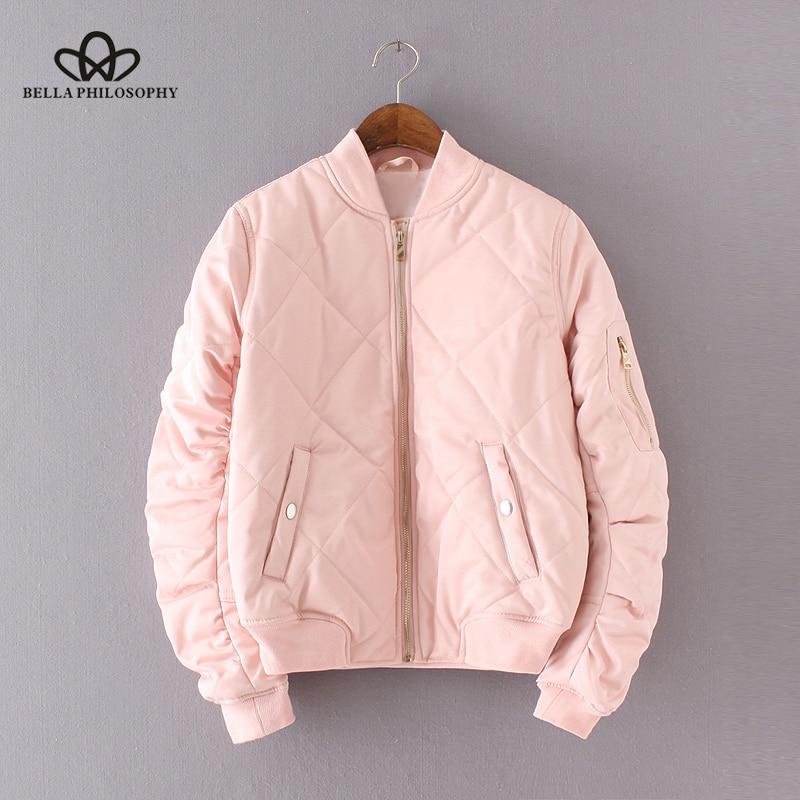 Bella Philosophy 2018 quilting bomber jacket women spring coat zipper long sleeve winter jacket cotton-padded pink outwears