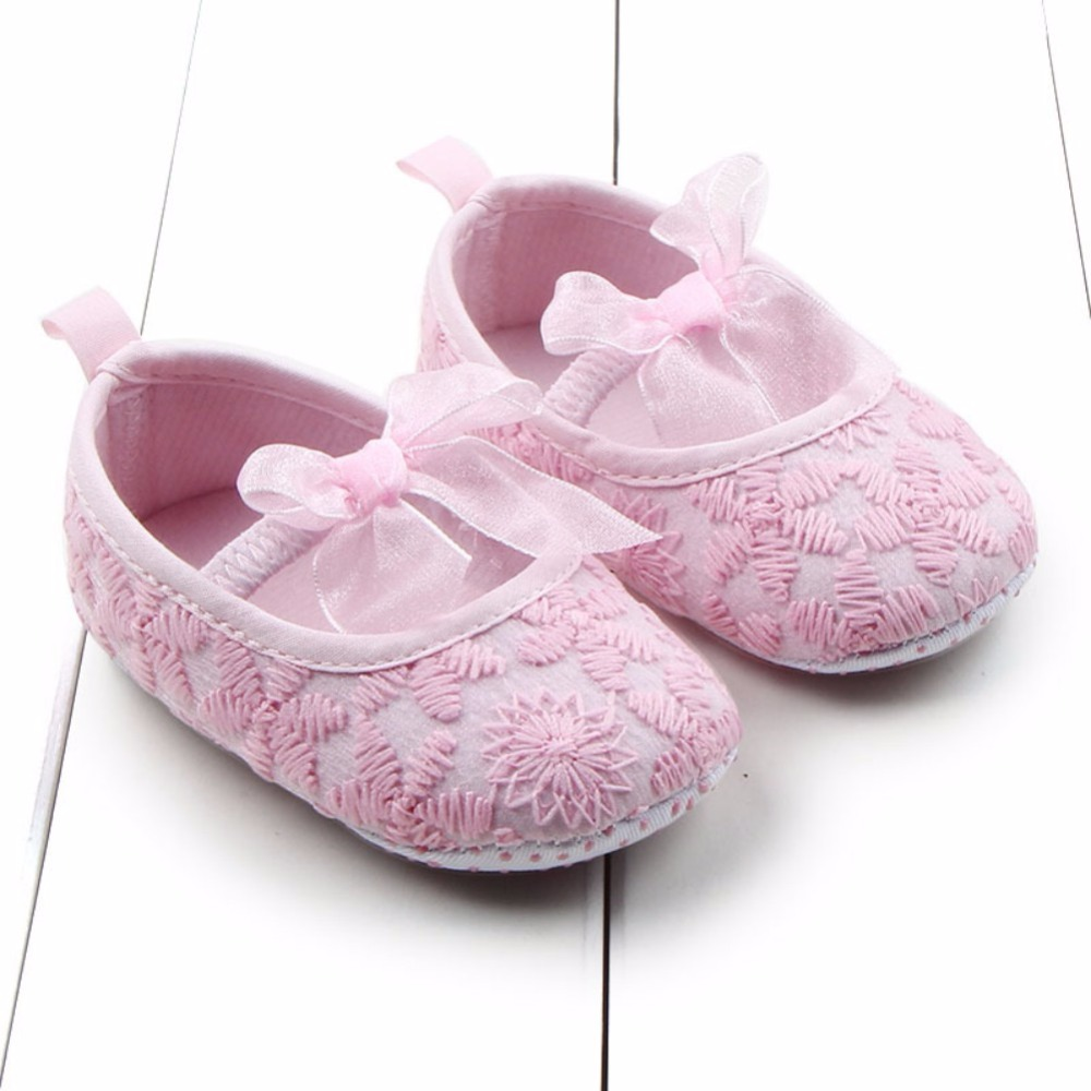 Newborn Baby Girl Shoes Sweet Princess Shoes Soft Sole Crib Prewalkers 0-12 Months