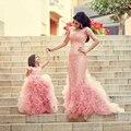 Pageant Comunhão Vestidos Menina 2016 Top Vendendo vestido de Baile Rosa Cap Mangas Vestidos Até O Chão Da Menina de Flor Crianças Vestidos de Noite