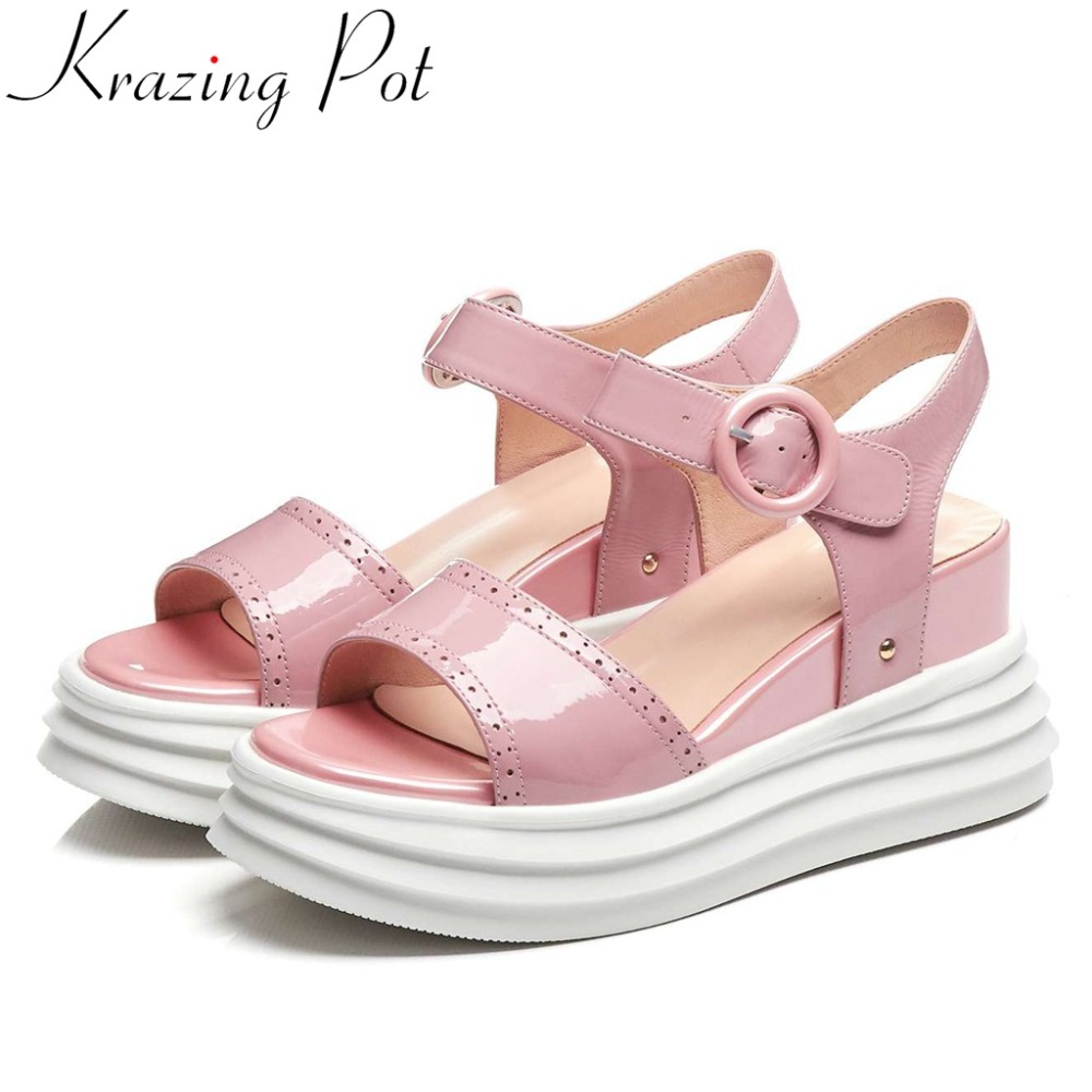 Krazing Pot genuine leather buckle strap peep round toe slingback women sandals flat platform daily wear