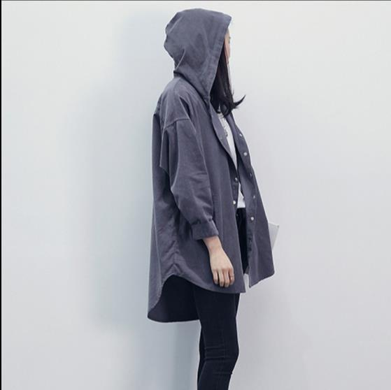 204f89cd8 Korean Style Spring Autumn Women Casual Jacket Hooded Oversize Solid ...