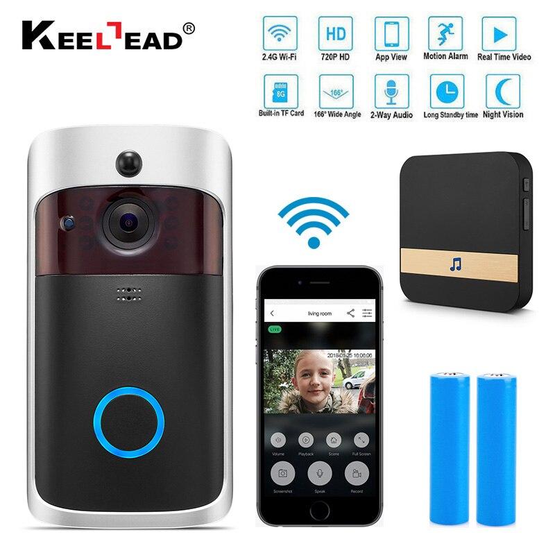 Умный ip-видеодомофон Wi-Fi видеодомофон дверной звонок wifi дверной Звонок камера для квартиры ИК-сигнализация беспроводная камера безопаснос...