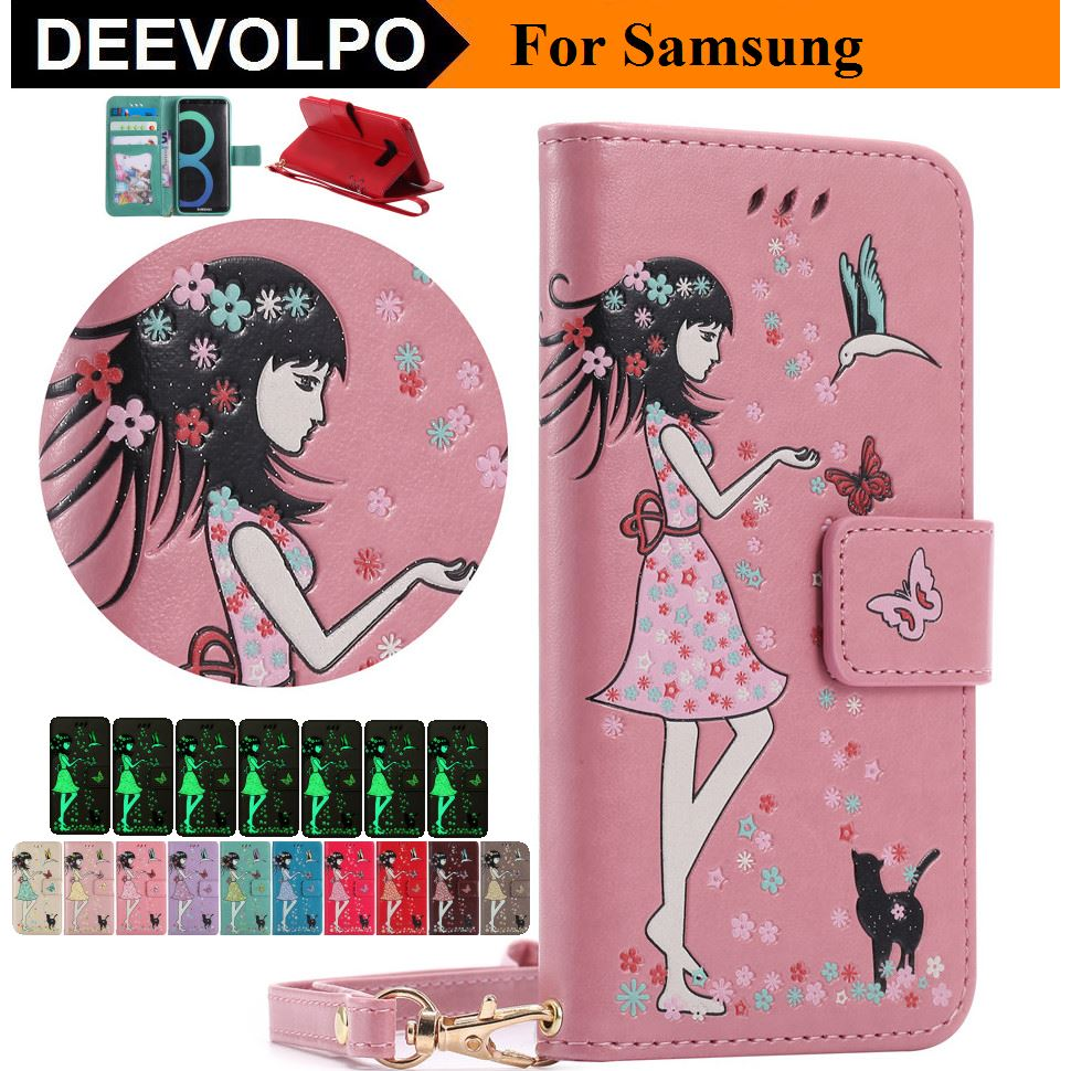 DEEVOLPO Shine In Night Book Cases Cover For Samsung A3 2016 A5 2017 J120 J3 Emerge J5 Prime J7 Prime J330 J530 J730 Note8 DP06G