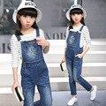 2017 spring fashion classic infancia leisure suit chica pasta de tinta jeans correas + horizontal rayas que basa la camisa dos-pieza