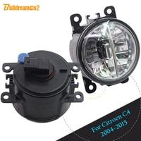 Buildreamen2 For Citroen C4 Car Accessories LED Bulb Fog Light Daytime Running Light DRL White 12V High Bright