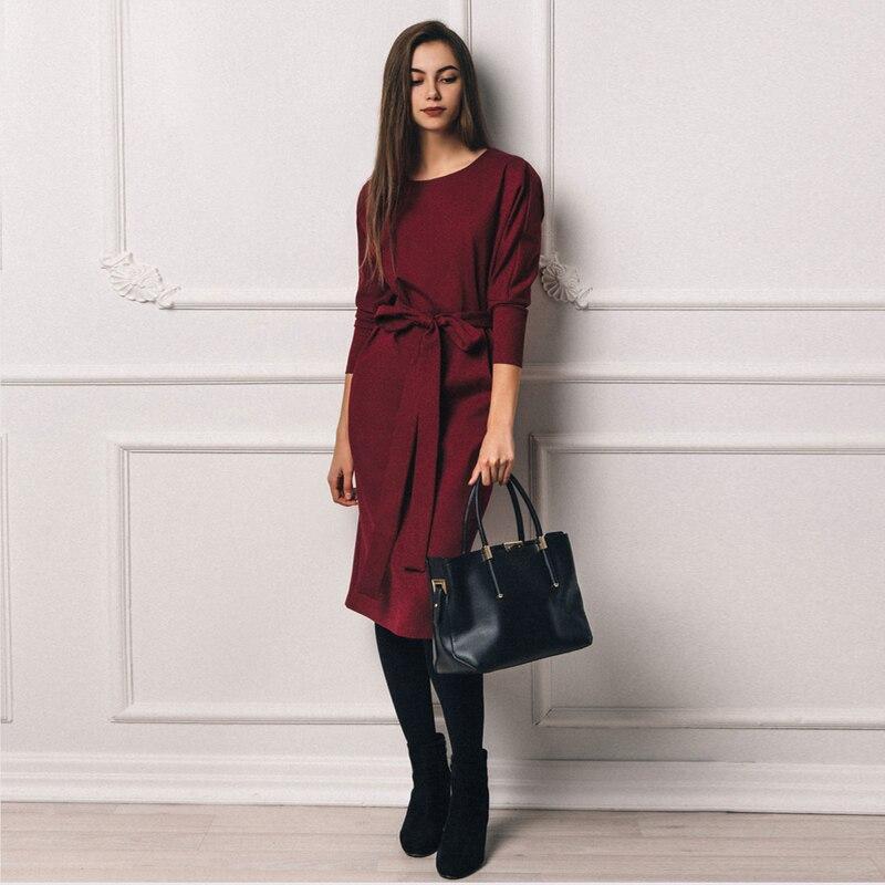 4a7a091b128 Купить Винтажное Бандажное зимнее платье женское 2018 вино с высокой талией  Vestidos элегантные офисные женские платья осень зима теплое платье женское  ...