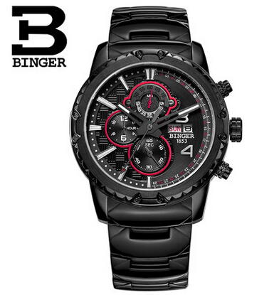 Binger Genuine Leather Luxury Watches Chronograph 6 Hands 24 Hours Function Men Top Brand Military Steel
